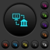 Open banking API dark push buttons with color icons - Open banking API dark push buttons with vivid color icons on dark grey background