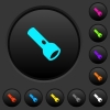 Flashlight dark push buttons with vivid color icons on dark grey background - Flashlight dark push buttons with color icons