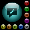 writing comment icons in color illuminated glass buttons - writing comment icons in color illuminated spherical glass buttons on black background. Can be used to black or dark templates
