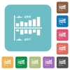Network statistics rounded square flat icons - Network statistics white flat icons on color rounded square backgrounds