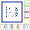 Debugging program flat framed icons - Debugging program flat color icons in square frames on white background