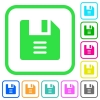 File options vivid colored flat icons - File options vivid colored flat icons in curved borders on white background
