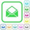 Open mail vivid colored flat icons - Open mail vivid colored flat icons in curved borders on white background