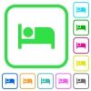 Hotel vivid colored flat icons - Hotel vivid colored flat icons in curved borders on white background