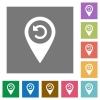 Undo GPS map location square flat icons - Undo GPS map location flat icons on simple color square backgrounds
