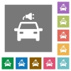 Electric car with connector flat icons on simple color square backgrounds - Electric car with connector square flat icons