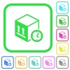 Package shipping time vivid colored flat icons - Package shipping time vivid colored flat icons in curved borders on white background
