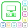Old personal computer vivid colored flat icons - Old personal computer vivid colored flat icons in curved borders on white background