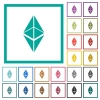 Ethereum classic digital cryptocurrency flat color icons with quadrant frames - Ethereum classic digital cryptocurrency flat color icons with quadrant frames on white background