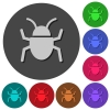 Bug icons with shadows on color round backgrounds for material design - Bug icons with shadows on round backgrounds