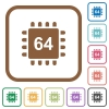 Microprocessor 64 bit architecture simple icons - Microprocessor 64 bit architecture simple icons in color rounded square frames on white background