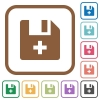 Add new file simple icons - Add new file simple icons in color rounded square frames on white background