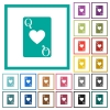 Queen of hearts card flat color icons with quadrant frames - Queen of hearts card flat color icons with quadrant frames on white background