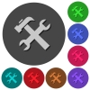 Wrench and hammer icons with shadows on color round backgrounds for material design - Wrench and hammer icons with shadows on round backgrounds