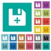 Move file square flat multi colored icons - Move file multi colored flat icons on plain square backgrounds. Included white and darker icon variations for hover or active effects.
