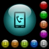 Mobile incoming call icons in color illuminated glass buttons - Mobile incoming call icons in color illuminated spherical glass buttons on black background. Can be used to black or dark templates