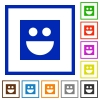 Smiley flat color icons in square frames on white background - Smiley flat framed icons