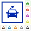 Electric car with flash flat framed icons - Electric car with flash flat color icons in square frames on white background