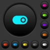 Toggle dark push buttons with color icons - Toggle dark push buttons with vivid color icons on dark grey background