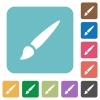 Brush rounded square flat icons - Brush white flat icons on color rounded square backgrounds