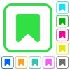 Bookmark vivid colored flat icons - Bookmark vivid colored flat icons in curved borders on white background