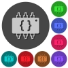 Hardware programming icons with shadows on round backgrounds - Hardware programming icons with shadows on color round backgrounds for material design