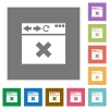 Browser cancel square flat icons - Browser cancel flat icons on simple color square backgrounds