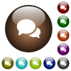 Discussion color glass buttons - Discussion white icons on round color glass buttons