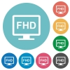 Full HD display flat white icons on round color backgrounds - Full HD display flat round icons