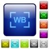 Camera white balance setting color square buttons - Camera white balance setting icons in rounded square color glossy button set