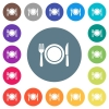 Dinner flat white icons on round color backgrounds - Dinner flat white icons on round color backgrounds. 17 background color variations are included.