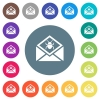 Open mail with malware symbol flat white icons on round color backgrounds - Open mail with malware symbol flat white icons on round color backgrounds. 17 background color variations are included.
