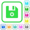File settings vivid colored flat icons - File settings vivid colored flat icons in curved borders on white background