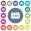Vintage retro walkman flat white icons on round color backgrounds - Vintage retro walkman flat white icons on round color backgrounds. 17 background color variations are included.