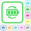 Rechargeable battery vivid colored flat icons - Rechargeable battery vivid colored flat icons in curved borders on white background