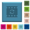 Restart movie engraved icons on edged square buttons in various trendy colors