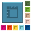 Canvas rulers engraved icons on edged square buttons - Canvas rulers engraved icons on edged square buttons in various trendy colors