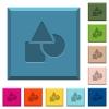 Basic geometric shapes engraved icons on edged square buttons - Basic geometric shapes engraved icons on edged square buttons in various trendy colors