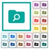 Folder search flat color icons with quadrant frames - Folder search flat color icons with quadrant frames on white background