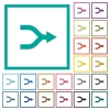 Merge arrows flat color icons with quadrant frames - Merge arrows flat color icons with quadrant frames on white background