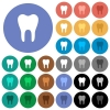 Single tooth multi colored flat icons on round backgrounds. Included white, light and dark icon variations for hover and active status effects, and bonus shades on black backgounds. - Single tooth round flat multi colored icons