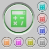 Pocket calculator push buttons - Pocket calculator color icons on sunk push buttons