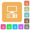 Old personal computer flat icons on rounded square vivid color backgrounds. - Old personal computer rounded square flat icons