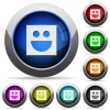 Smiley icons in round glossy buttons with steel frames - Smiley round glossy buttons