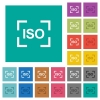 Camera iso speed setting square flat multi colored icons - Camera iso speed setting multi colored flat icons on plain square backgrounds. Included white and darker icon variations for hover or active effects.