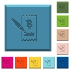 Signing Bitcoin cheque engraved icons on edged square buttons - Signing Bitcoin cheque engraved icons on edged square buttons in various trendy colors
