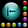 Align to left icons in color illuminated glass buttons - Align to left icons in color illuminated spherical glass buttons on black background. Can be used to black or dark templates