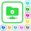 Protected FTP vivid colored flat icons - Protected FTP vivid colored flat icons in curved borders on white background