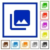 Photo library flat color icons in square frames on white background - Photo library flat framed icons