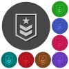 Military rank icons with shadows on round backgrounds - Military rank icons with shadows on color round backgrounds for material design